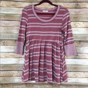 easel Pink striped Cuffed 3/4 sleeves tunic small